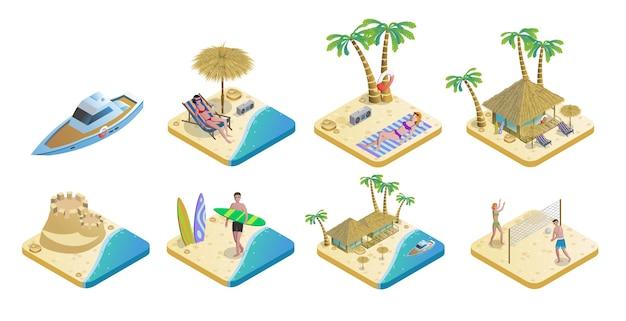 Set di elementi isometrici spiaggia estiva Vettore gratuito
