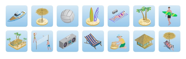 Isometric summer beach vacation icons set Free Vector