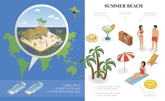 La composizione isometrica in vacanze estive con la gente delle palme reclinabili di salvagente della borsa del cocktail del cappello riposa vicino all'hotel del bungalow sulla spiaggia Vettore gratuito