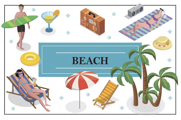 Изометрические летние каникулы композиция с мужчиной, держащим доску для серфинга, женщины загорают на пляже, коктейльное кресло, багаж, зонтик, пальмы, шляпа, спасательный круг Бесплатные векторы