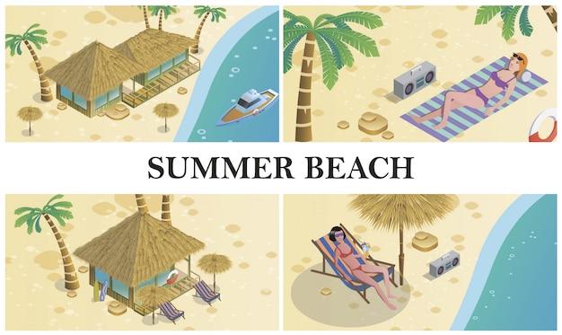 Изометрическая летняя композиция с женщинами, загорающими на пляже. бунгало, отель, регистратор, пальмы, лодка и спасательный круг. Бесплатные векторы