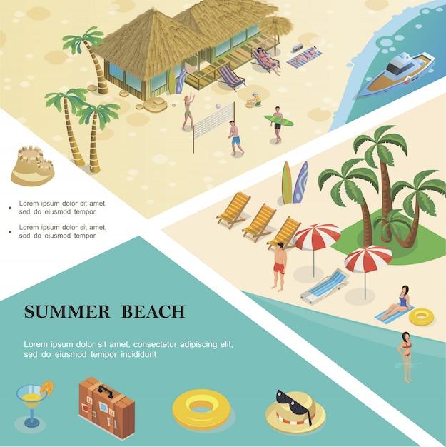 Il modello variopinto isometrico di vacanze estive con la gente del bagaglio di salvagente degli occhiali da sole del cappello da cocktail riposa sulla spiaggia tropicale Vettore gratuito