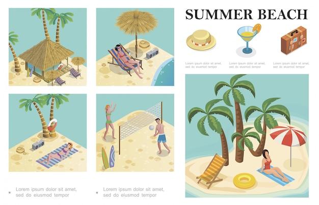 Composizione di vacanze estive isometrica con cappello cocktail bagaglio palme reclinabili bungalow hotel persone che giocano a pallavolo e donne che prendono il sole sulla spiaggia Vettore gratuito