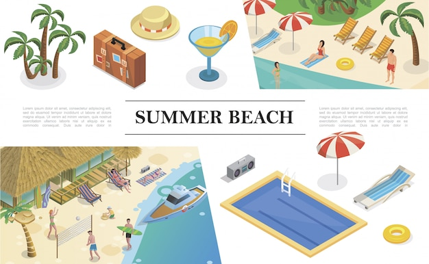 Isometric summer vacation composition with palms bag hat cocktail swimming pool recliner umbrella lifebuoy tape recorder people rest on tropical beach Free Vector