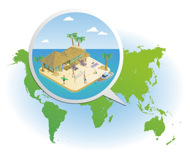 Isometric summer vacation template Free Vector