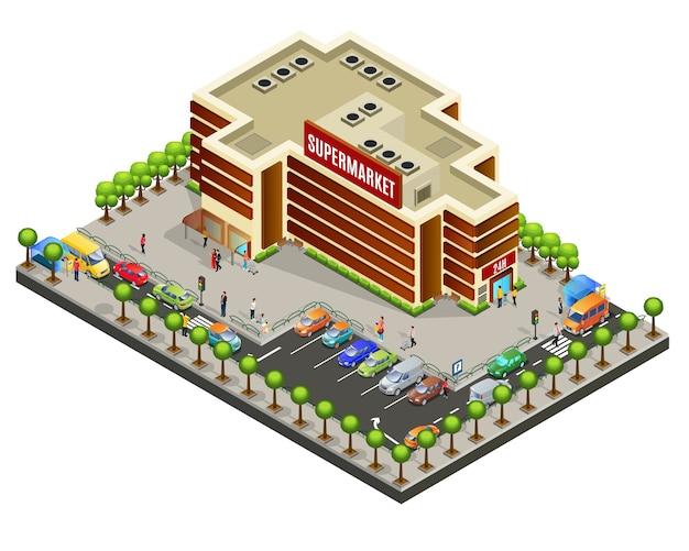 Концепция площади изометрические супермаркет Бесплатные векторы