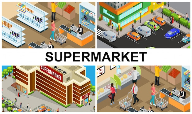 Isometric supermarket colorful composition with people buying products in store hall cashiers parking near shopping mall building Free Vector