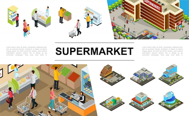 Isometric supermarket composition with shopping mall buildings exteriors parking cars people buying different products Free Vector