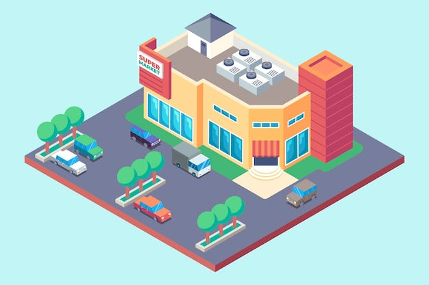 Isometric supermarket concept Free Vector