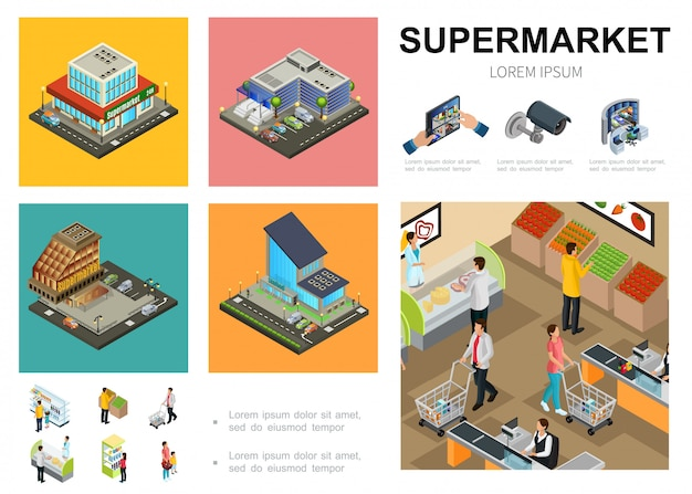 Isometric supermarket template with shopping mall exteriors video surveillance system customers buying different products in hall of hypermarket Free Vector