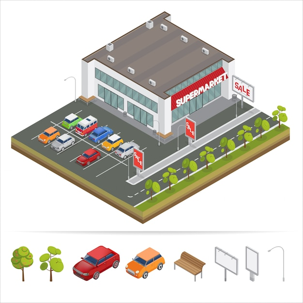 Isometric supermarket with car parking. shopping mall. Premium Vector