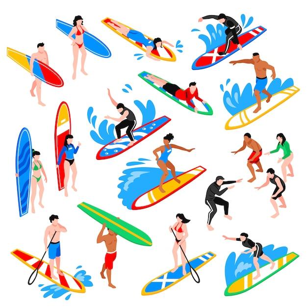 Isometric surf set Free Vector