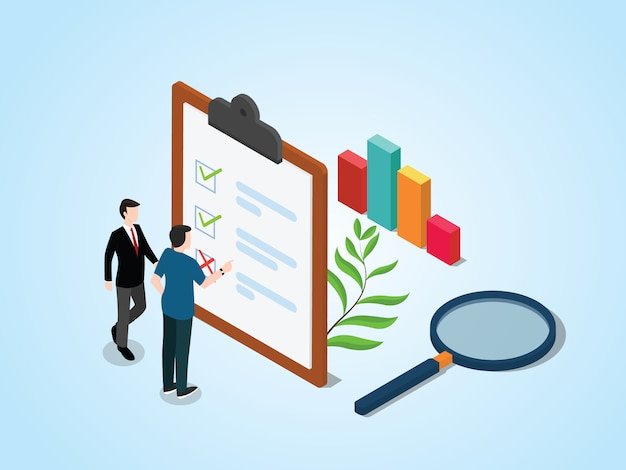 Isometric survey concept with people and checklist Premium Vector