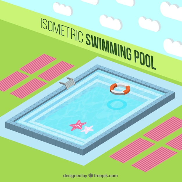 Isometric swimming pool background