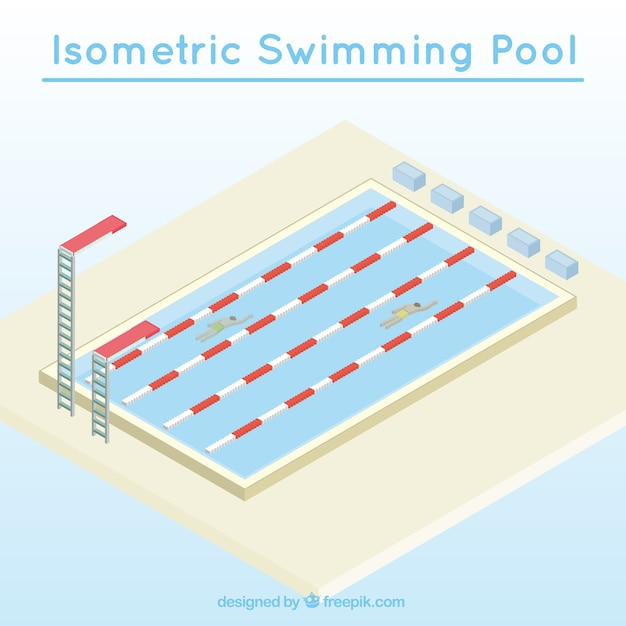 Isometric Swimming Pool Competition Vector Free Download