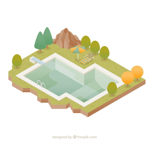 Isometric swimming pool in a landscape