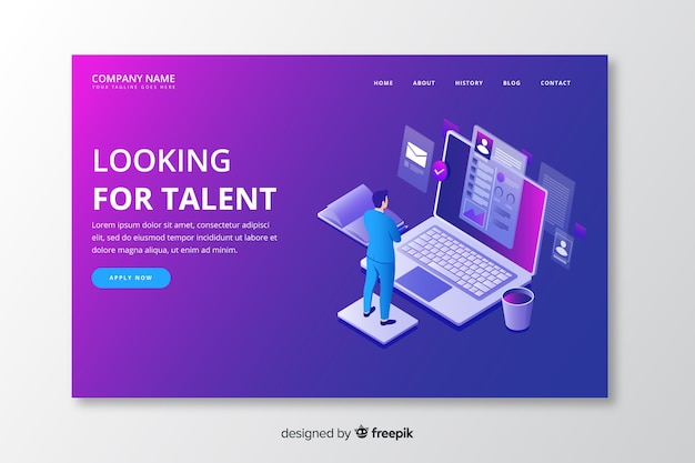 Isometric talent landing page template Free Vector