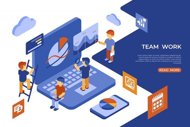 Isometric team work people business infographics Premium Vector