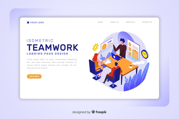 Isometric teamwork landing page template Free Vector