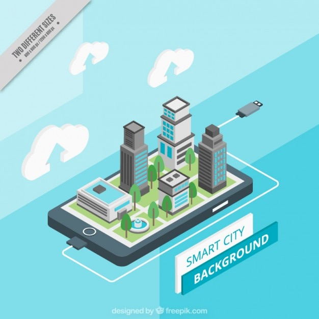 Isometric technological city background  Free Vector