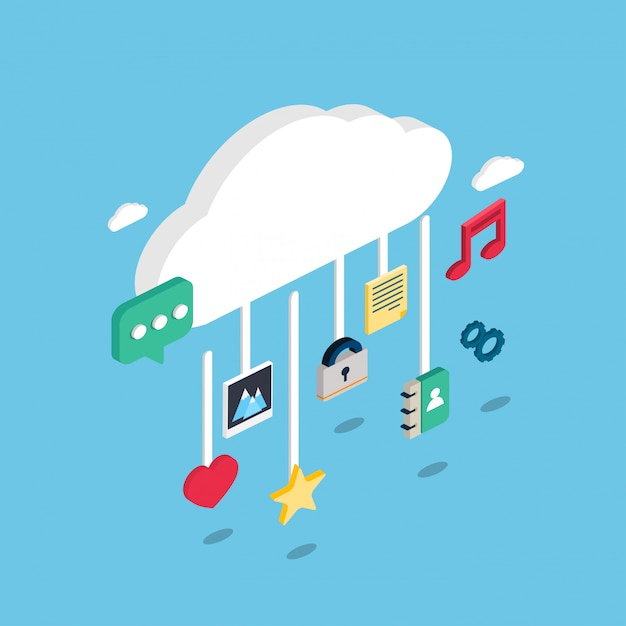 Isometric technological icons on a cloud Premium Vector