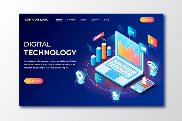 Isometric technology landing page template Free Vector