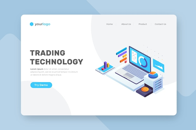 Isometric technology landing page Free Vector