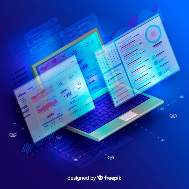 Isometric tecnology abstract background Free Vector