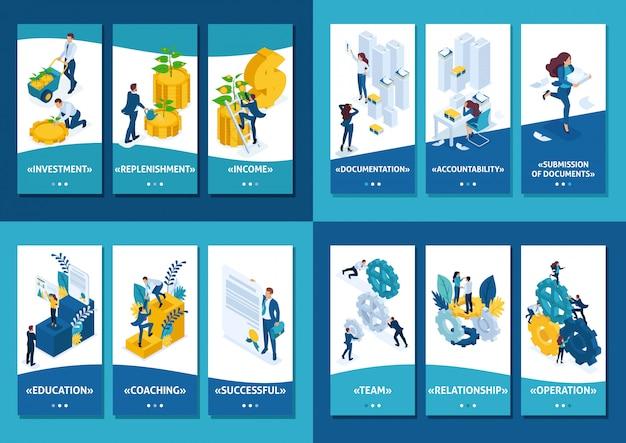 等尺性テンプレートアプリ監査レポート、チームワーク、設備投資、成功のための教育の準備 Premiumベクター