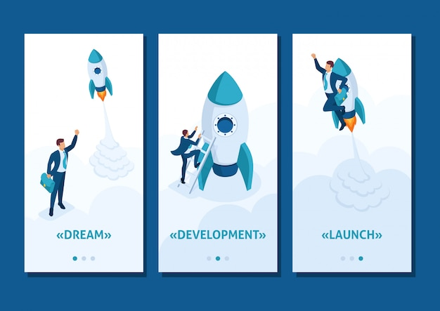 Isometric template app race for leadership, competition of young successful businessman, smartphone apps Premium Vector