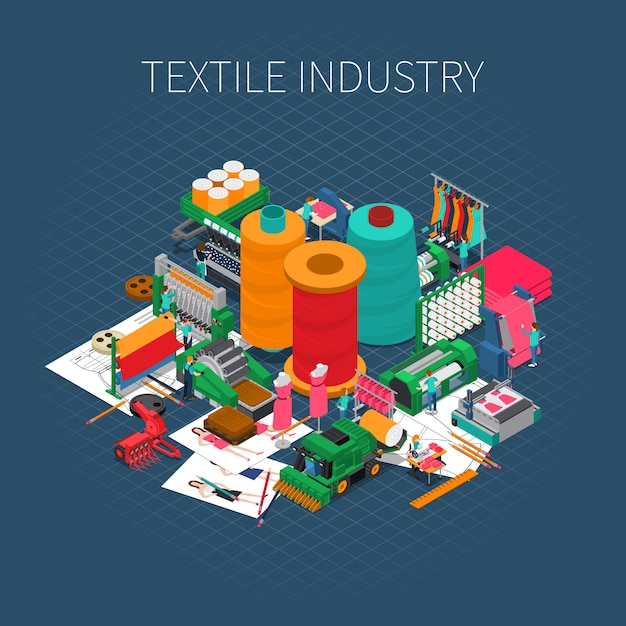 Isometric textile print Free Vector