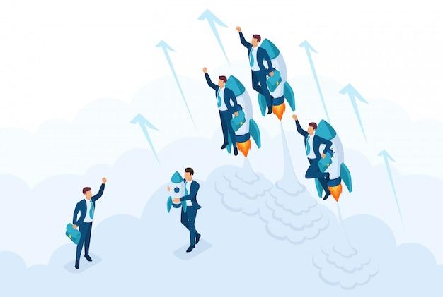 等尺性リーダーシップ、若い成功したビジネスマンの競争のためのコンセプトレース。 webデザインのコンセプト Premiumベクター