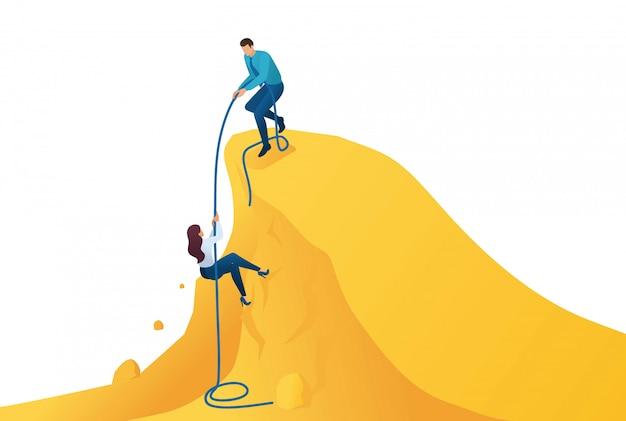 等尺性は、目標を達成するためのメンターを助け、成功への道を登ります。 Premiumベクター
