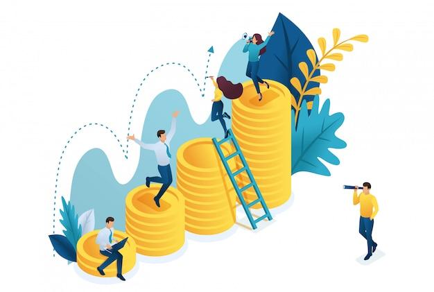 等尺性投資の成功の成長、若い起業家は指標を模索しています。 Premiumベクター