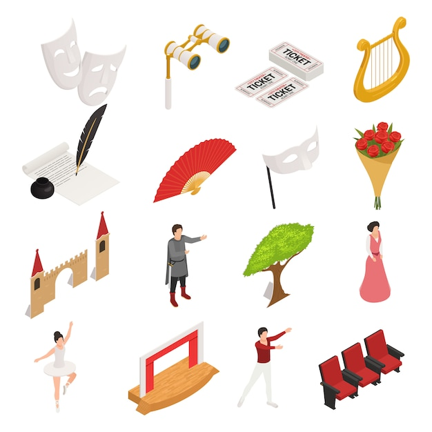 Isometric theatre icons collection Free Vector