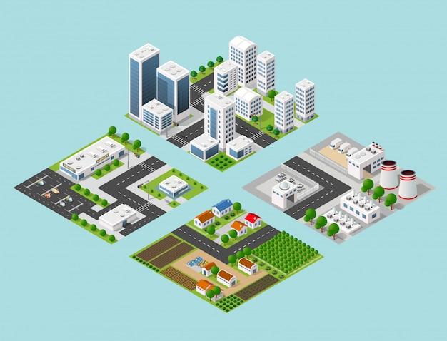 Isometric three-dimensional 3d city Vector | Premium Download