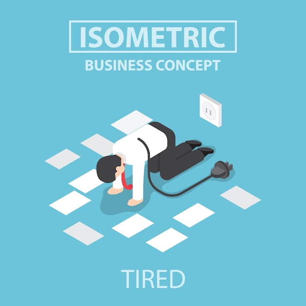 Isometric tired businessman unplug and stop working Premium Vector