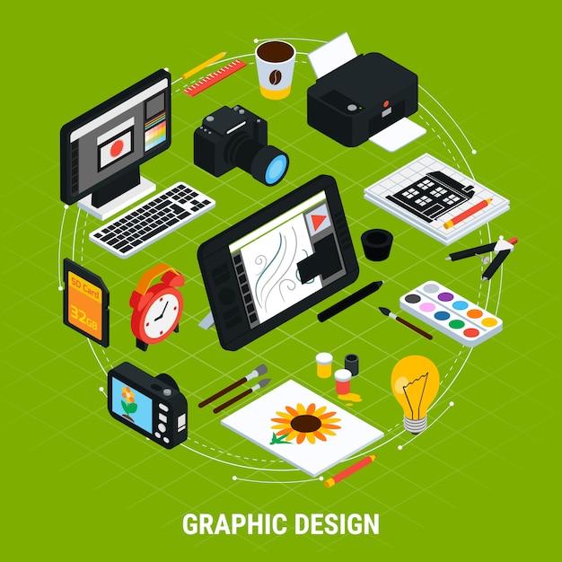 Gli strumenti isometrici per progettazione grafica con la compressa del computer dipinge l'illustrazione di vettore della stampante 3d della macchina fotografica Vettore gratuito