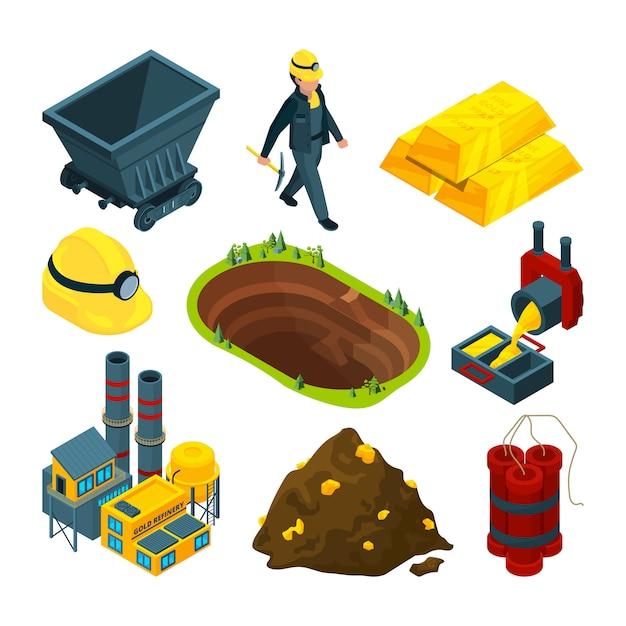 Isometric tools for mining industry Premium Vector
