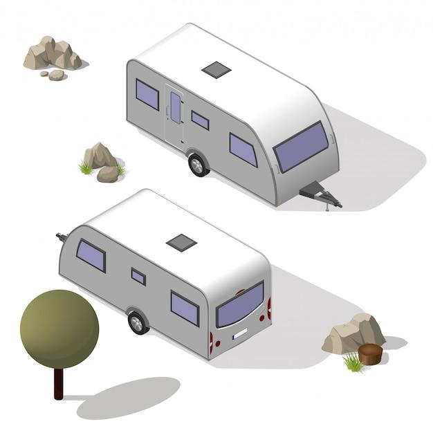 Isometric tourist trailer Premium Vector
