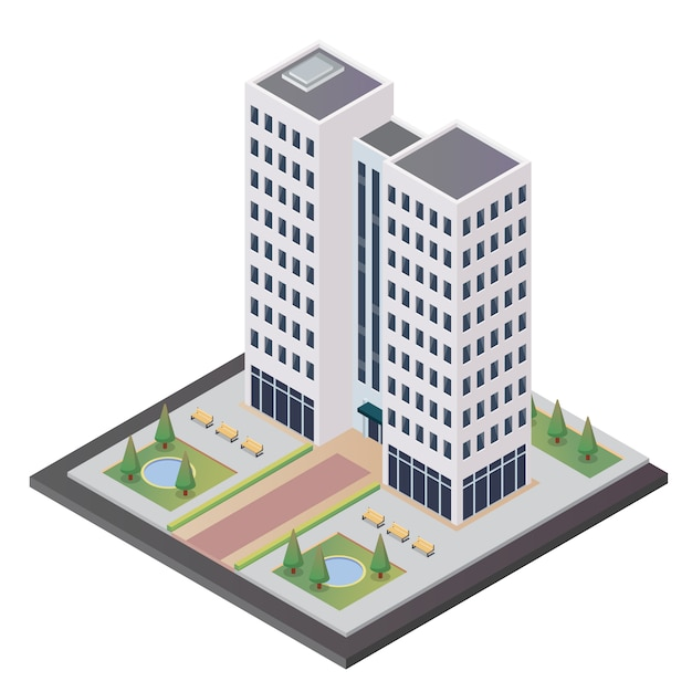 Isometric tower building vector free download for Apartment floor plans vector