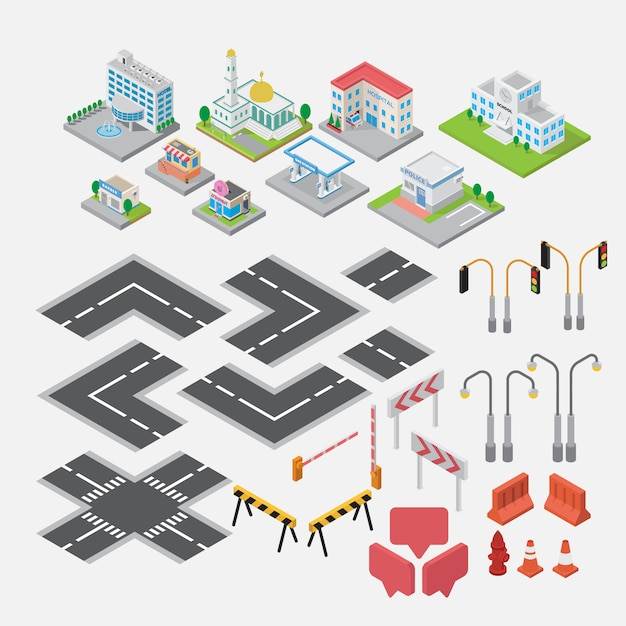 Isometric  town map element creator vector Premium Vector