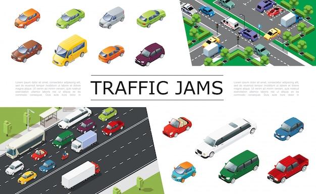 さまざまなタイプとモデルの道路自動車で移動する都市交通による等尺性交通渋滞の構成 無料ベクター