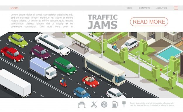 Isometric traffic jam web page template with different cars moving on road in city Free Vector