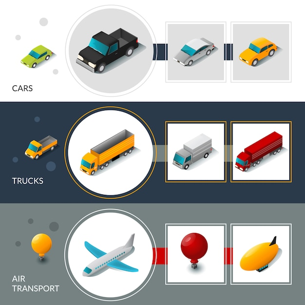 Isometric transport banners Free Vector
