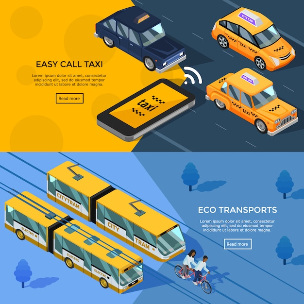 Isometric transport horizontal banners Free Vector