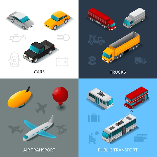 Isometric transport set Vector | Free Download
