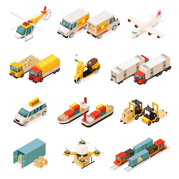 Isometric transportation elements set with cars helicopter trucks airplane scooter ships forklifts container drone train isolated Premium Vector