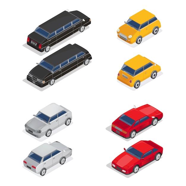 Isometric transportation. limousine car. sport car. city car. Premium Vector
