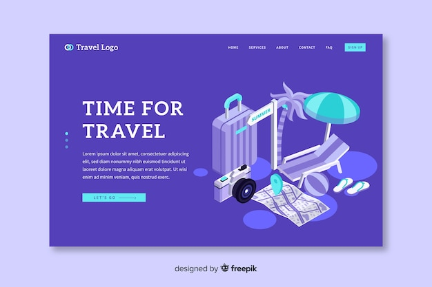 Isometric travel landing page template Free Vector
